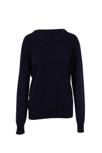 The Row - Maley Dark Navy Cashmere V-Neck Sweater