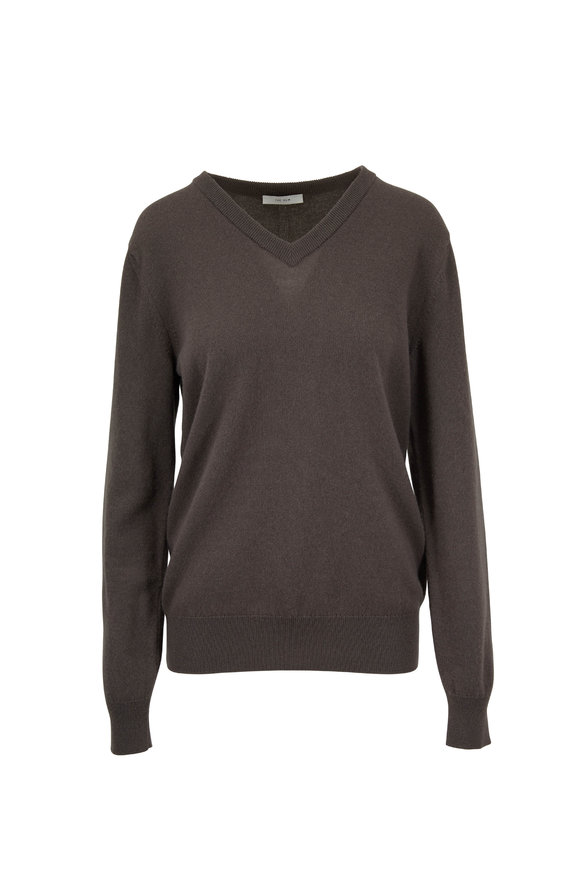 cf7c45c93fe The Row Maley Grey Green Cashmere V-Neck Sweater