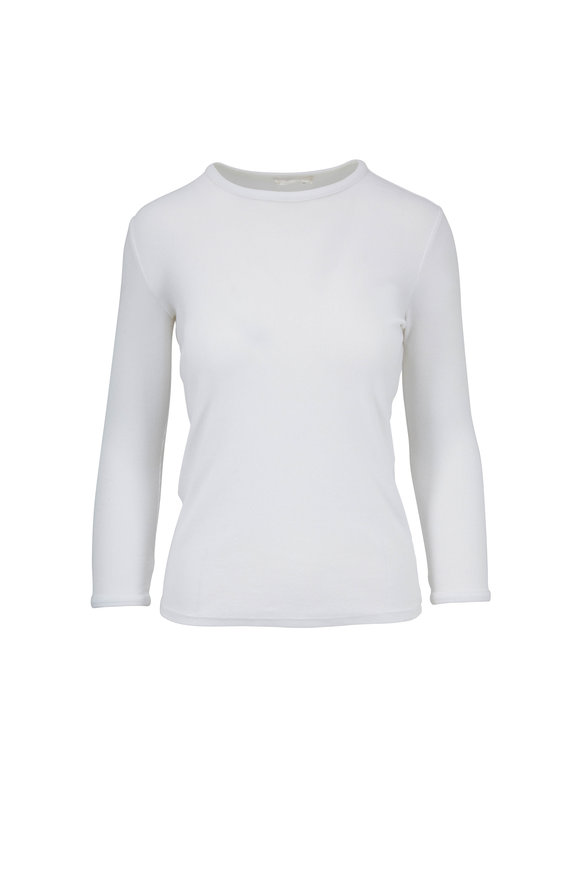 The Row Miva White Ribbed Three-Quarter Sleeve Top