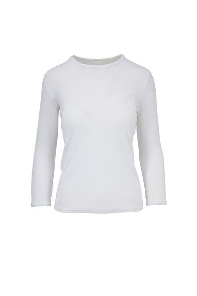 The Row - Miva White Ribbed Three-Quarter Sleeve Top