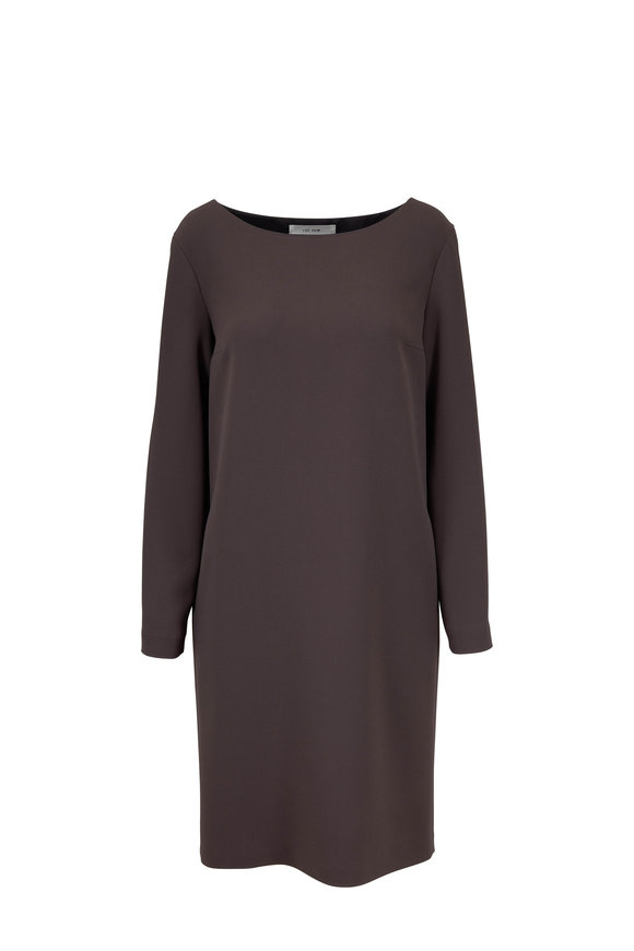 The Row Sarina Ash Grey Techno Stretch Cady Dress