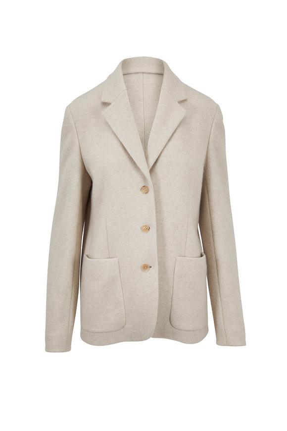 The Row Defi Light Beige Brushed Wool Cashmere Jacket