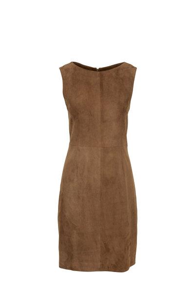 The Row - Hara Dark Taupe Suede Sleeveless Dress