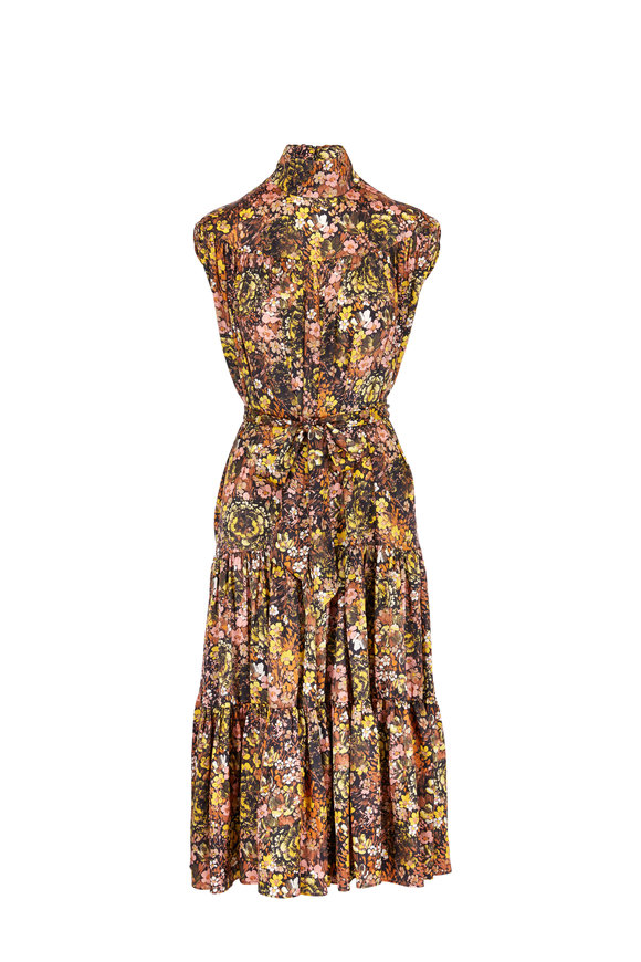 CO Collection Floral Silk Mock Neck Day Dress