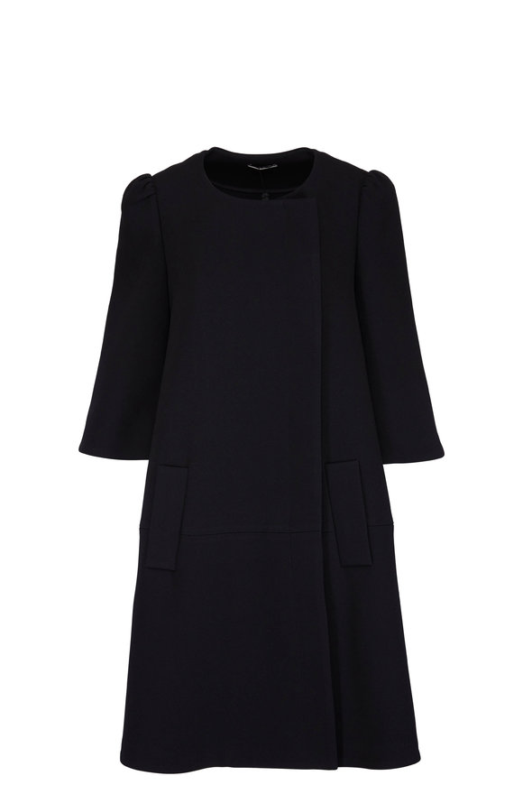 CO Collection Black Collarless Mid Length Jacket