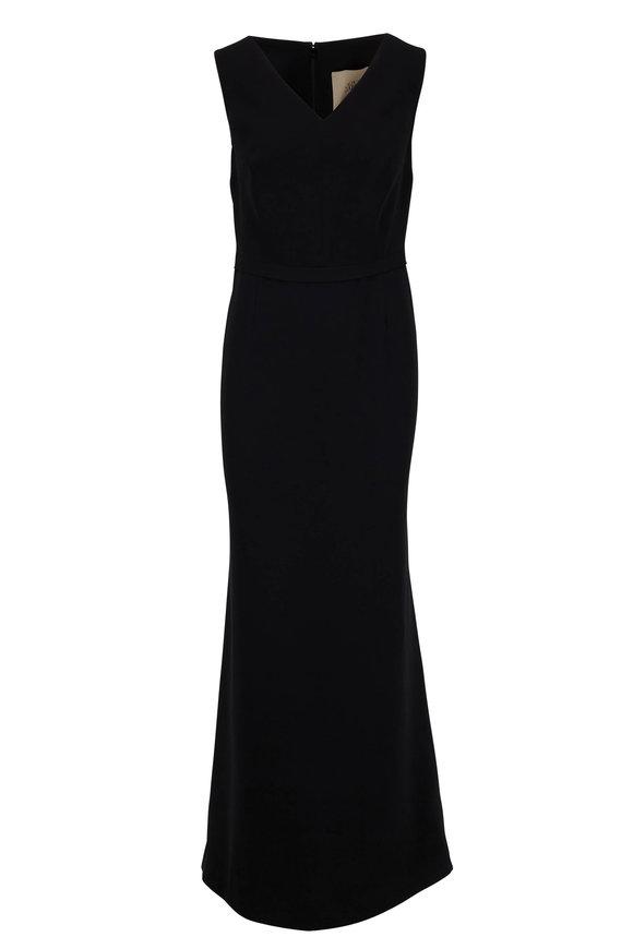 Olivine Gabbro Black Silk V-Neck Banded Waist Sleeveless Gown