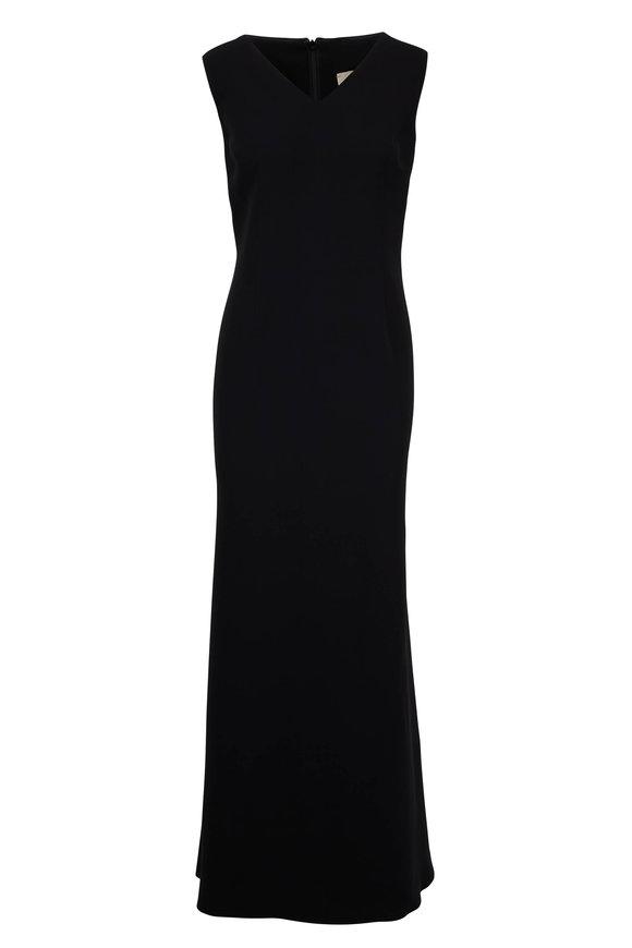 Olivine Gabbro Black Silk V-Neck Sleeveless Gown