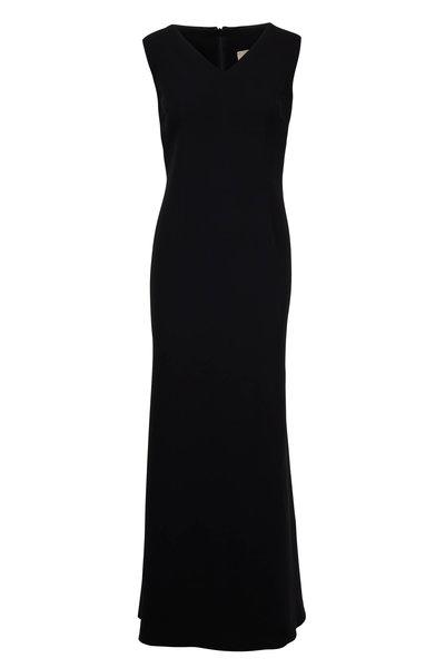 Olivine Gabbro - Black Silk V-Neck Sleeveless Gown