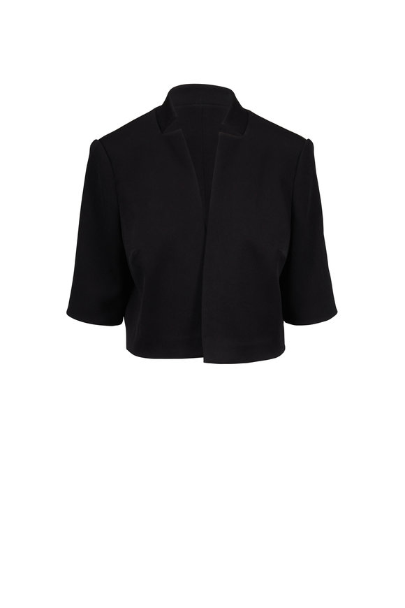 Olivine Gabbro Black Textured Silk Bolero Jacket