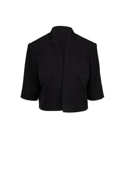 Olivine Gabbro - Black Textured Silk Bolero Jacket