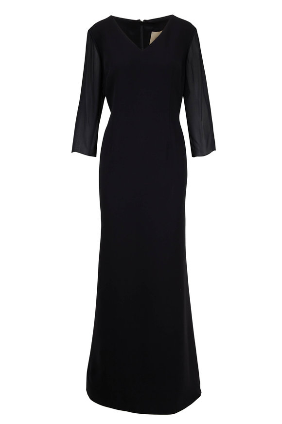 Olivine Gabbro Black Silk V-Neck Sheer Sleeve Gown