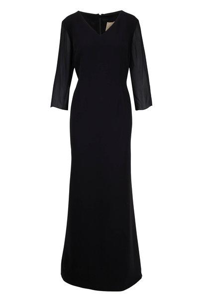 Olivine Gabbro - Black Silk V-Neck Sheer Sleeve Gown
