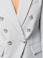 Veronica Beard - Miller Gray & White Striped Double-Breasted Jacket