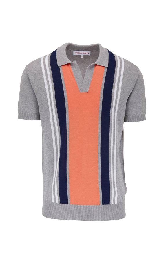 Orlebar Brown Horton Gray Vertical Striped Short Sleeve Polo