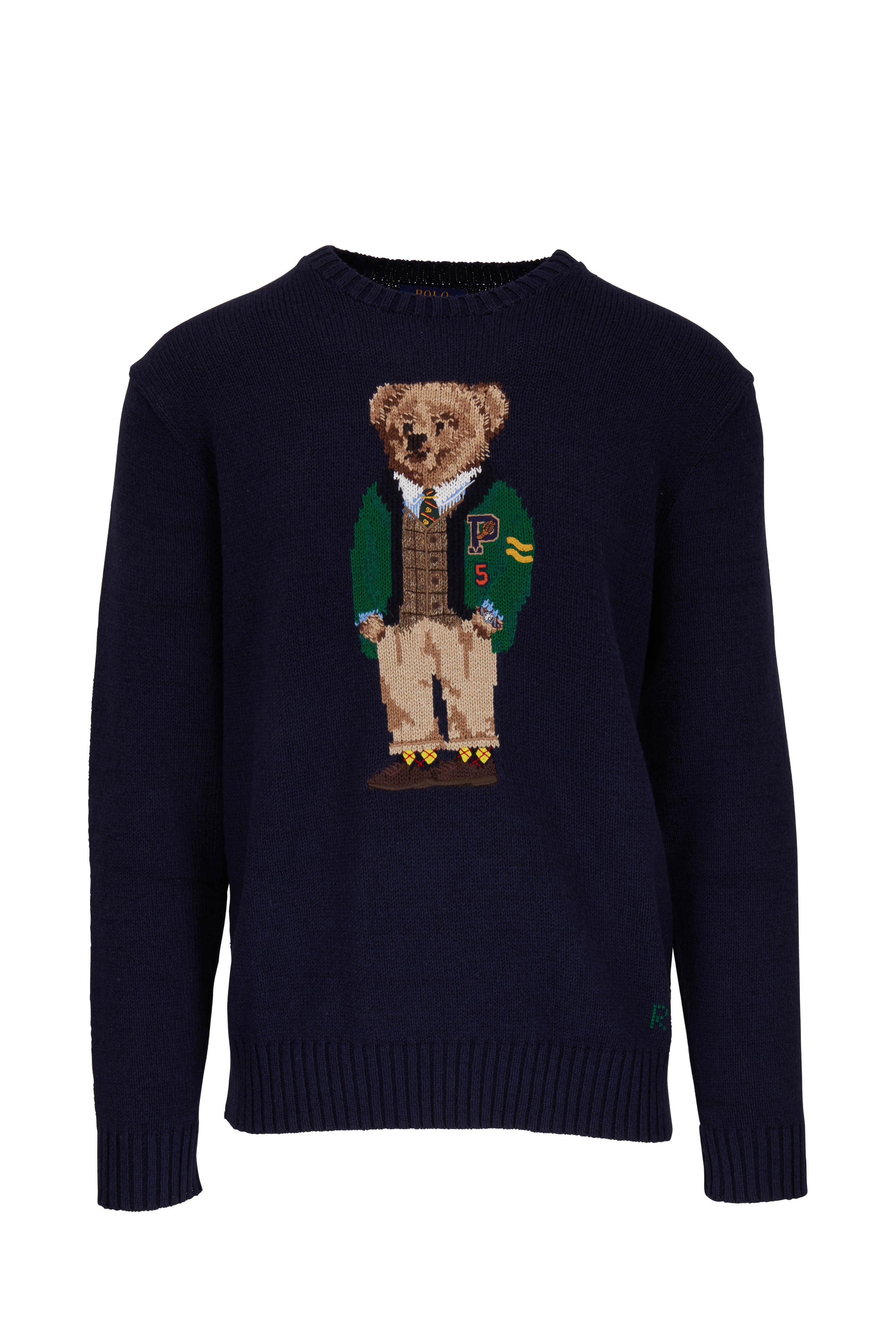 f3de838b23 Polo Ralph Lauren - Navy Yale Bear Crewneck Sweater   Mitchell Stores