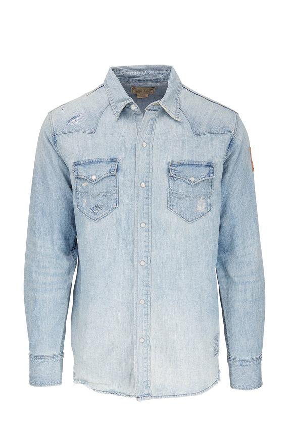 Polo Ralph Lauren Light Blue Western Flag Patch Denim Shirt
