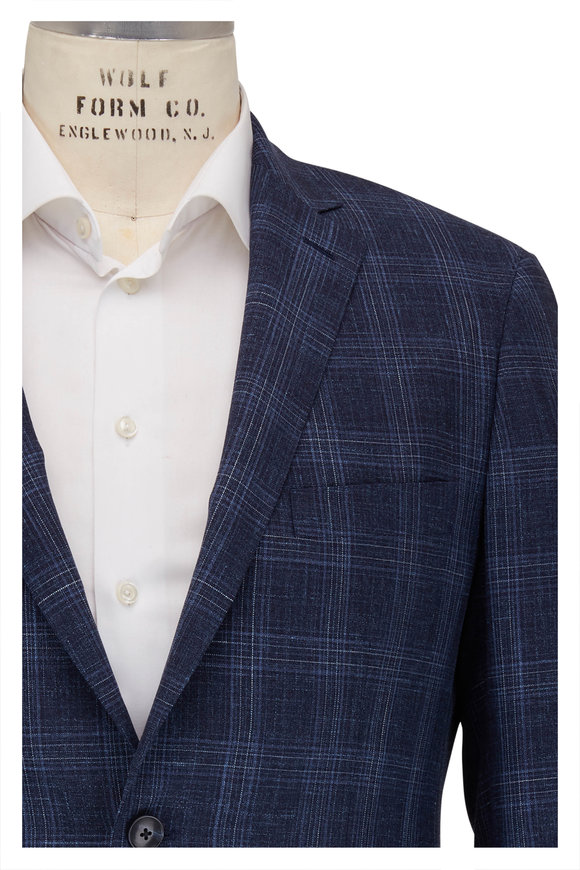 Atelier Munro Blue Windowpane Wool Sportcoat
