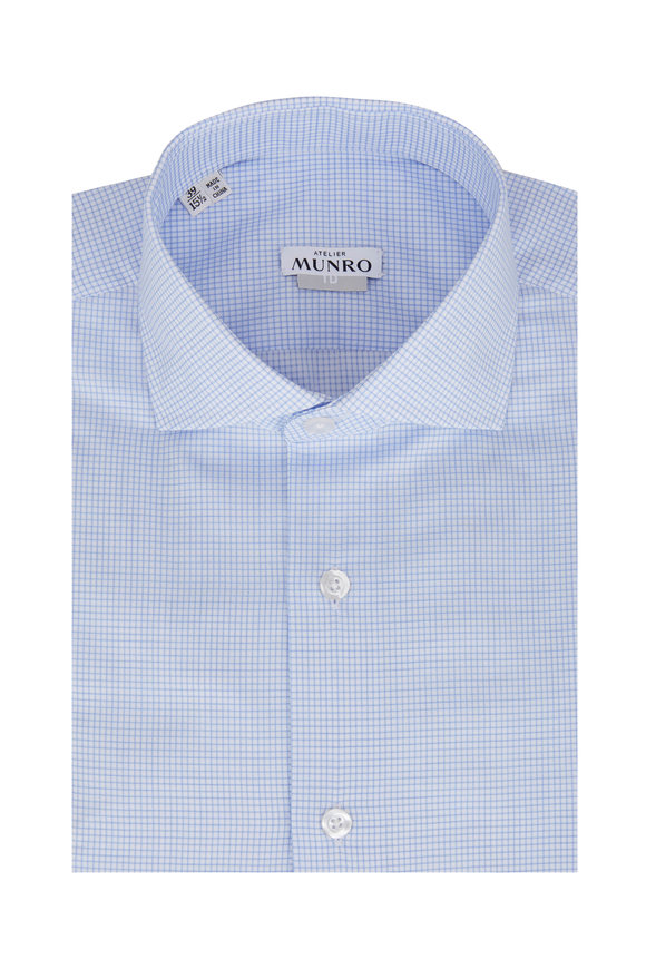 Atelier Munro Light Blue Check Dress Shirt