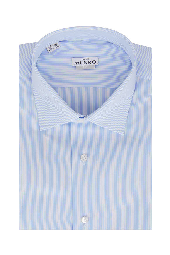 Atelier Munro Light Blue Striped Dress Shirt