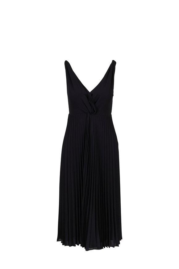 Vince Black Pleated Twist Front Dress
