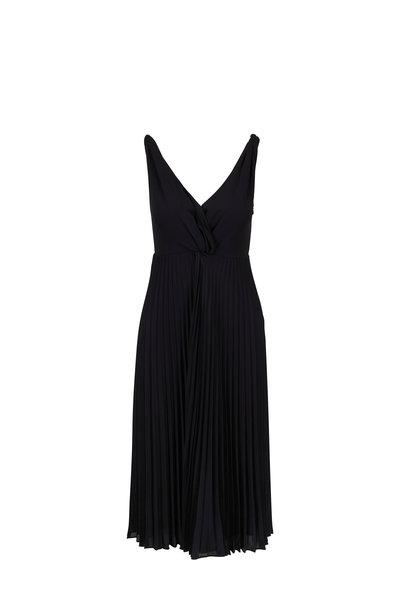 Vince - Black Pleated Twist Front Dress