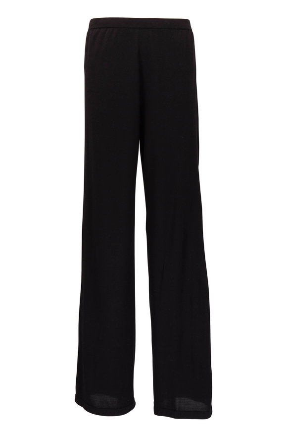 The Row Melisa Black Silk Knit Pant