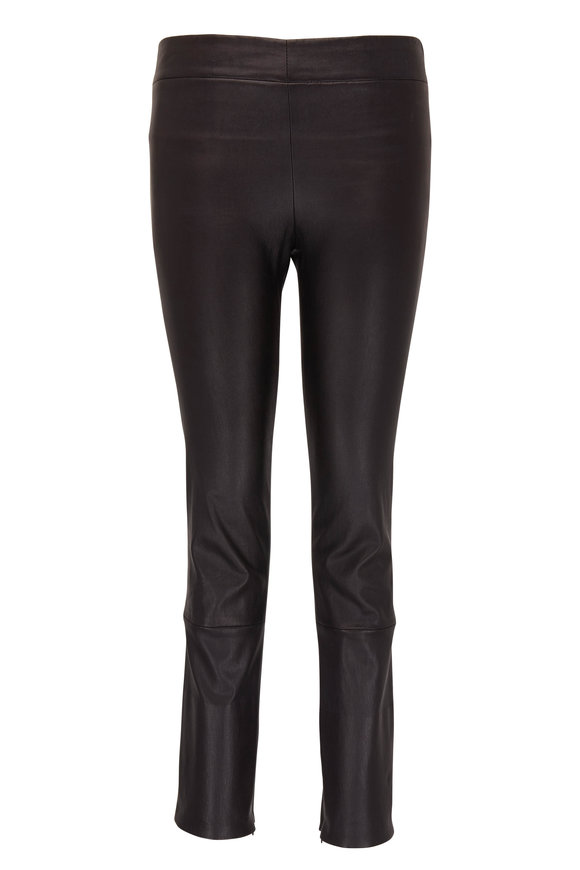 The Row Mino Black Leather Cropped Skinny Pant