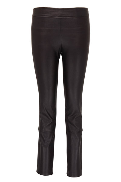 The Row - Mino Black Leather Cropped Skinny Pant