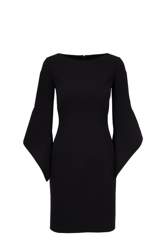 48083e45cdfb Michael Kors Collection Black Double-Faced Wool Sheath Dress