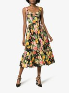 Dolce & Gabbana - Black & Yellow Floral Printed Fit-To-Flare Dress