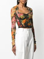 Dolce & Gabbana - Floral Print Sheer Tulle Long Sleeve Bustier