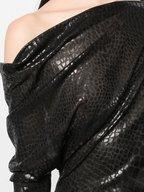 Tom Ford - Black Croc Embossed Off-The-Shoulder Top