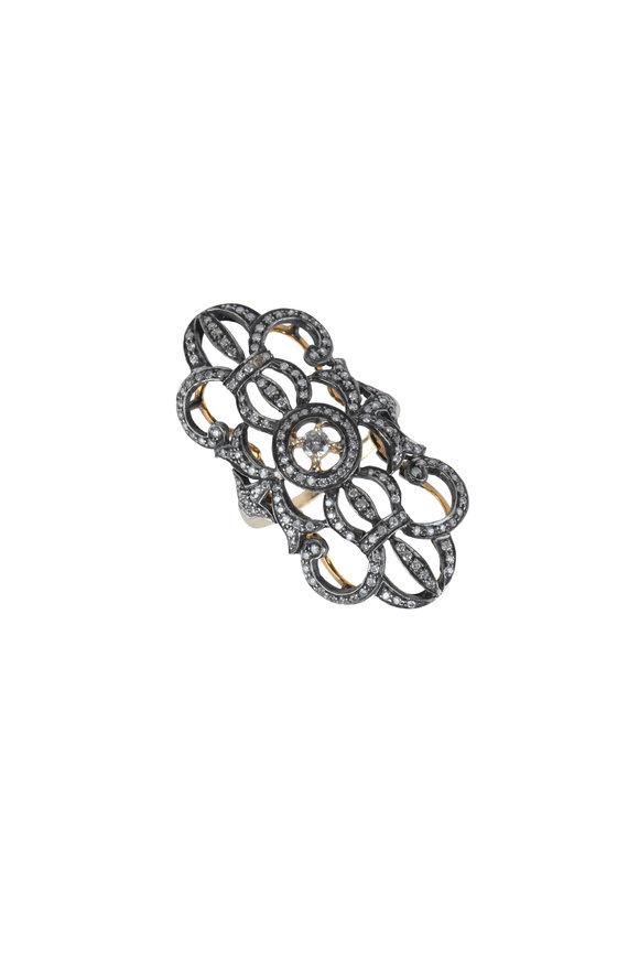 Loren Jewels 18K Gold & Silver Elongated Diamond Ring