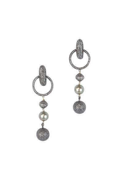 Loren Jewels - Sterling Silver Pavé & Pearl Drop Earrings