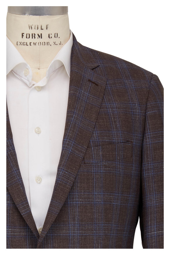Atelier Munro Brown & Blue Windowpane Wool Sportcoat