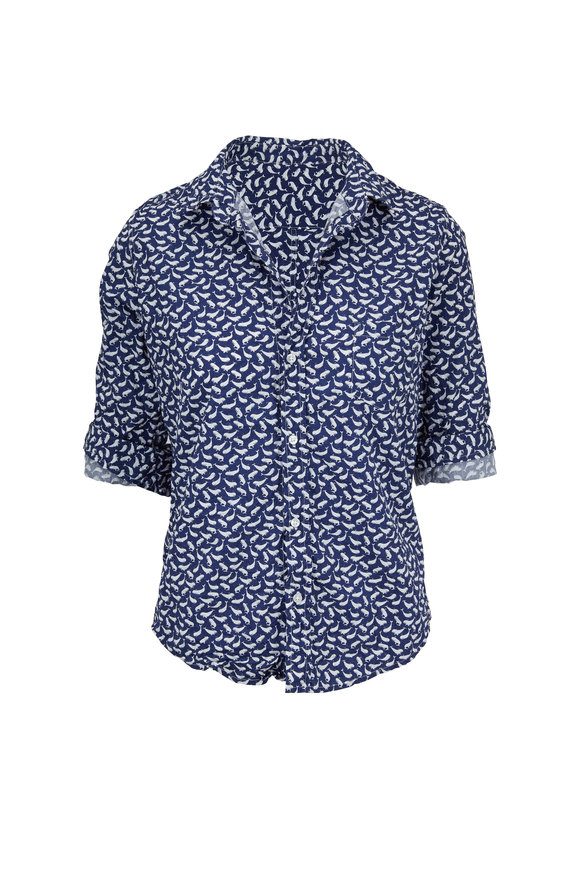 Frank & Eileen Barry Crinkled Navy & White Whales Button Down