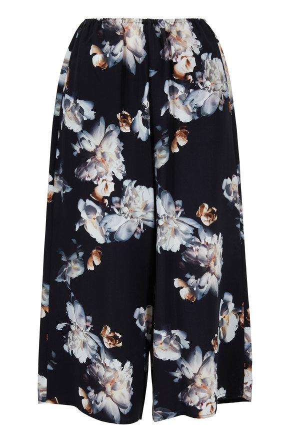 Vince Black Peony Print Silk Pull-On Culotte
