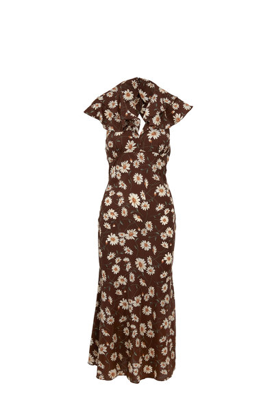 Michael Kors Collection - Brown & Ivory Crepe De Chine Ruffle Dress