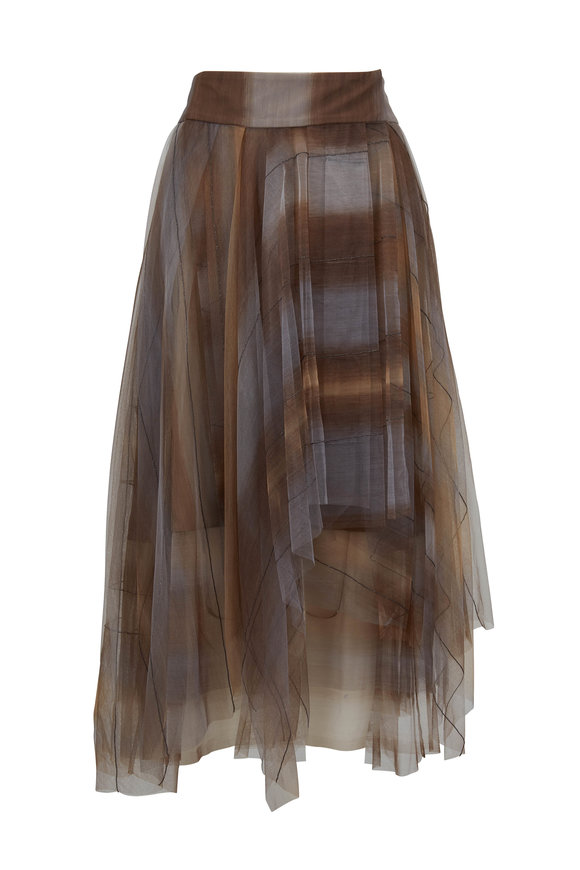 Brunello Cucinelli Grey Striped Plaid Tulle Monili Trim Midi Skirt