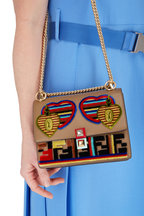Fendi - Kan I Dark Taupe Jacquard Liberty Small Bag