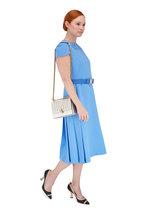 Fendi - Baby Blue Crêpe Mink Floral Detail Belted Dress
