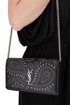 Saint Laurent - Kate Black Vintage Leather Studded Chain Wallet