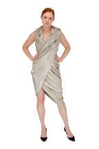 Balmain - Silver Laminated Hooded Draped Dress