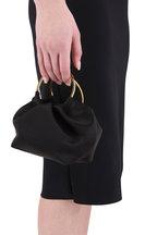 The Row - Black Satin Double Circle Micro Bag