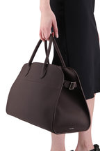 The Row - Margaux 15 Raisin Grained Leather Large Tote