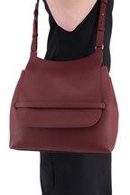 The Row - Sideby Maroon Leather Crossbody Bag