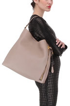 Tom Ford - Alix Taupe Leather Large Hobo Bag