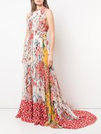 Carolina Herrera - Multicolor Floral Print Chiffon Maxi Dress