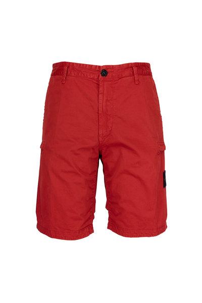 Stone Island - Red Bermuda Cargo Shorts