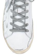 Golden Goose - Superstar White With Sliver Glitter LOVE Sneaker